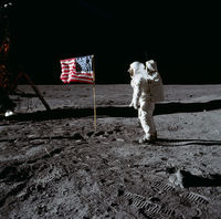 909px buzz aldrin and the u.s. flag on the moon   gpn 2001 000012
